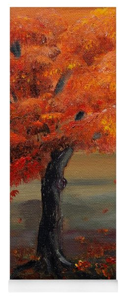 Yoga Mat featuring the painting Stand Alone In Color - Autumn - Tree by Jan Dappen
