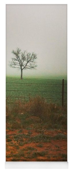 Standing Alone, A Lone Tree In The Fog. Yoga Mat