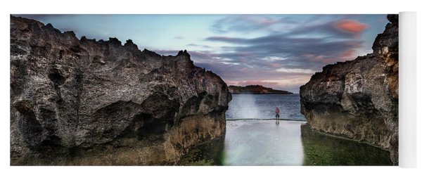 Yoga Mat featuring the photograph Standing At The Tip Of Sea by Pradeep Raja Prints