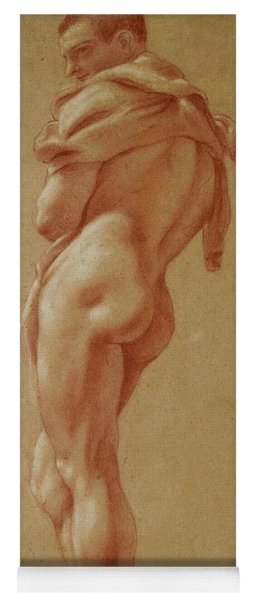 Standing Male Nude Seen From Behind Yoga Mat