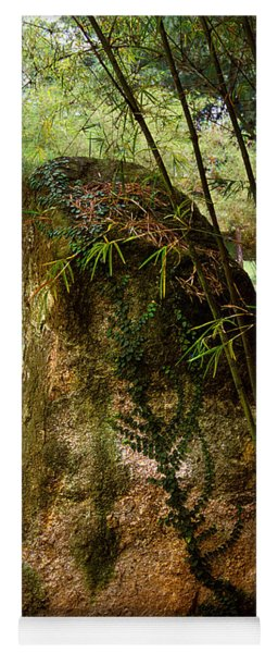 Standing Stone With Fern And Bamboo 19a Yoga Mat