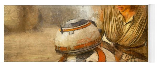 Star Wars Rey And Bb-8  - Pencil Style -  - Pa Yoga Mat