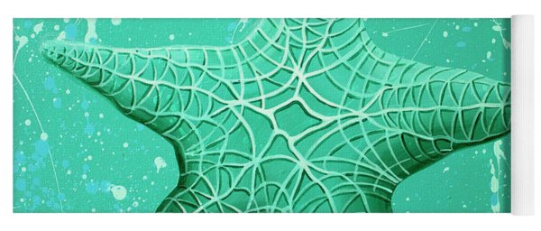 Yoga Mat featuring the painting Starfish In Teal by William Love