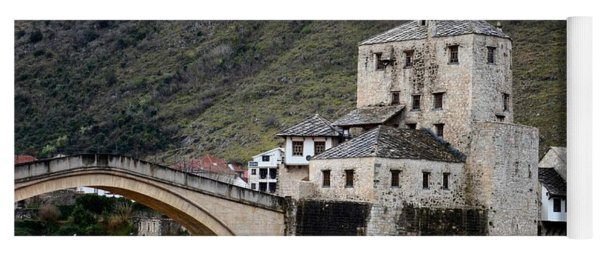 Stari Most Ottoman Bridge And Embankment Fortification Mostar Bosnia Herzegovina Yoga Mat