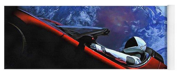 Starman In Tesla With Planet Earth Yoga Mat