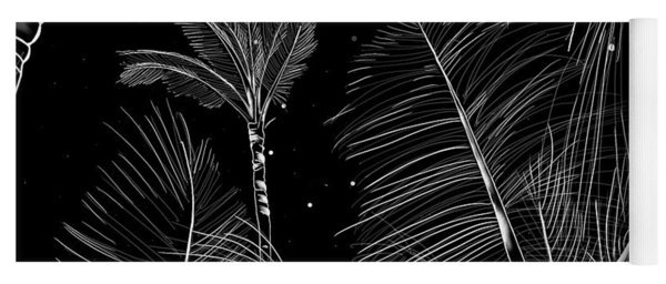 Starry Moonlit Palms Yoga Mat