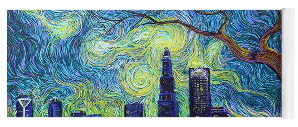 Starry Night Over The Queen City Yoga Mat