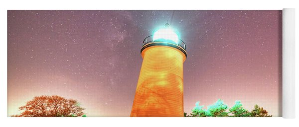Starry Sky Over The Newburyport Harbor Light Yoga Mat