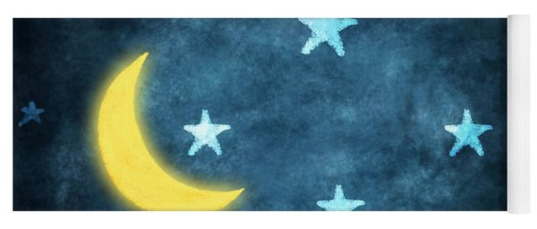 Stars And Moon Drawing With Chalk Yoga Mat