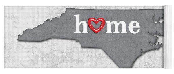 State Map Outline North Carolina With Heart In Home Yoga Mat
