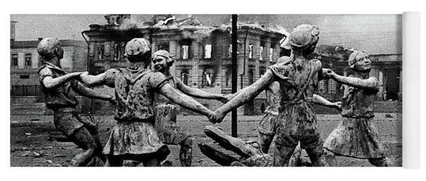 Statue Of Children After Nazi Airstrikes Center Of Stalingrad 1942 Yoga Mat
