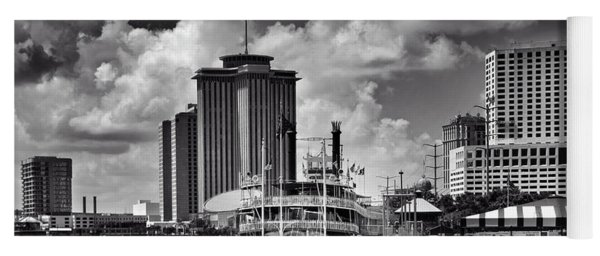 Steamboat And Big Buildings In Black And White Yoga Mat