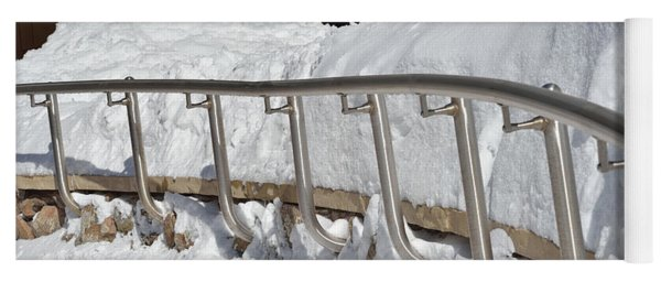 Steel Hand Rail In Snow Yoga Mat