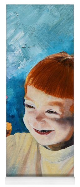 Yoga Mat featuring the painting Stefi- My Trip To Holland - Red Headed Angel by Jan Dappen