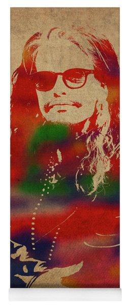 Steven Tyler Watercolor Portrait Aerosmith Yoga Mat