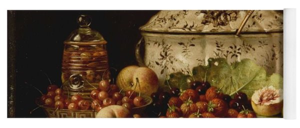 Still Life  Fruit And Dishes  Late 19th Century Oil On Panel Gottfried Schultz  German  1842  1919 Yoga Mat