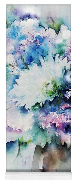 Still Life Rose Bouquet Watercolour Yoga Mat
