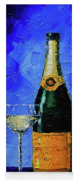 Still Life With Champagne Bottle And Glass Yoga Mat