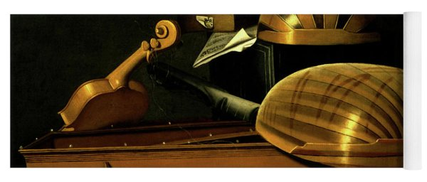 Still Life With Musical Instruments And Books Yoga Mat