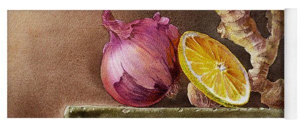 Still Life With Onion Lemon And Ginger Yoga Mat