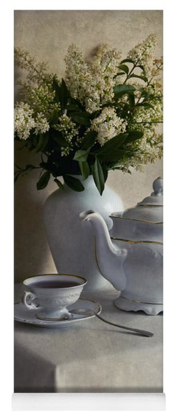 Still Life With White Tea Set And Bouquet Of White Flowers Yoga Mat