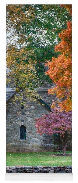 Stone Church In Pomfret Ct In Autumn Yoga Mat