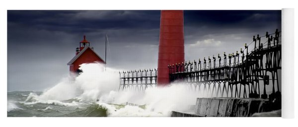 Storm At The Grand Haven Lighthouse Yoga Mat