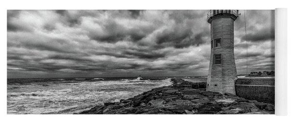 Storm Clouds Over Old Scituate Lighthouse In Black And White Yoga Mat