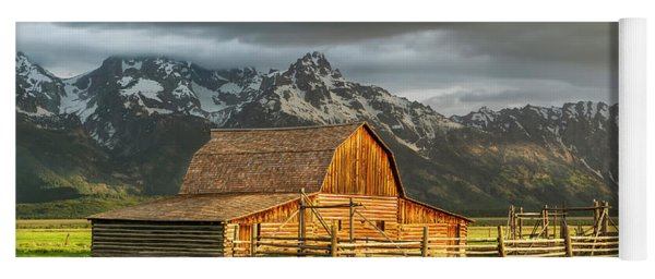 Storm Clouds Over The Mormon Barn In Grand Teton National Park Yoga Mat
