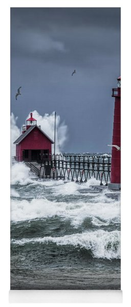 Storm On Lake Michigan By The Grand Haven Lighthouse With Flying Gulls Yoga Mat