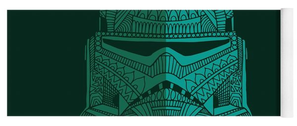 Stormtrooper Helmet - Star Wars Art - Blue Green Yoga Mat