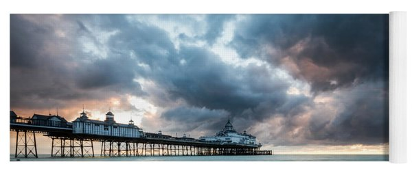 Stormy Sunrise Over Eastbourne Pier Yoga Mat