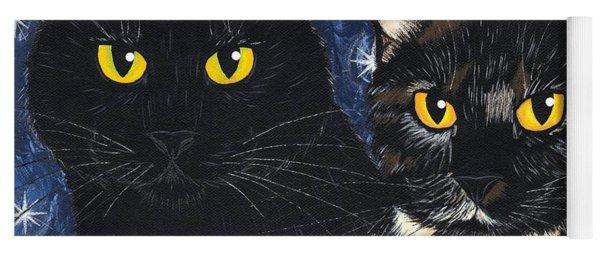 Strangeling's Felines - Black Cat Tortie Cat Yoga Mat