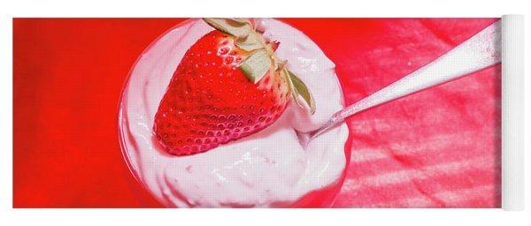 Strawberry Yogurt In Round Bowl With Spoon Yoga Mat