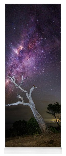 Yoga Mat featuring the photograph Striking Milkyway Over A Lone Tree by Pradeep Raja Prints