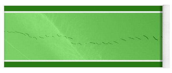 String Of Birds In Green Yoga Mat