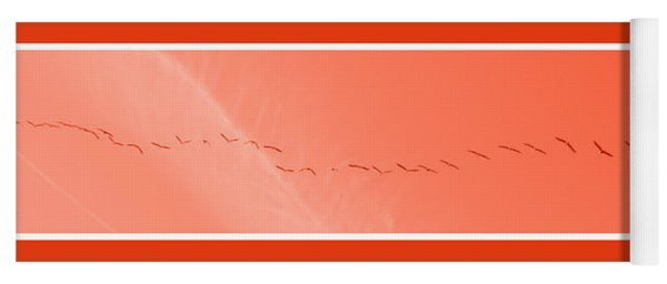 String  Of Brids In Red Yoga Mat