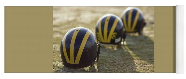 Striped Helmets On A Yard Line Yoga Mat