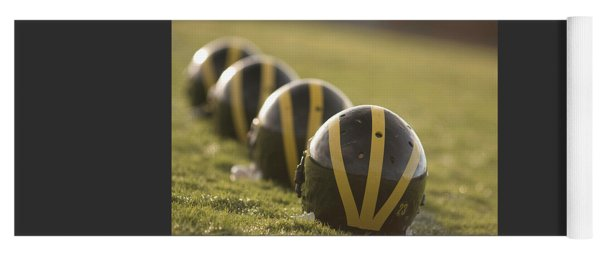 Striped Helmets On Yard Line Yoga Mat