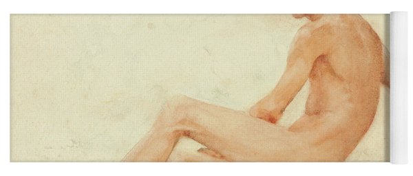 Study Of A Male Nude, Seated, Turning Away To The Right Yoga Mat