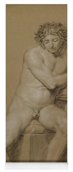 Study Of A Seated Male Nude Yoga Mat