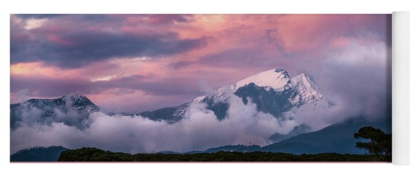Stuff Of Dreams - Italian Mountain Range At Sunset, Wide Panorama Yoga Mat