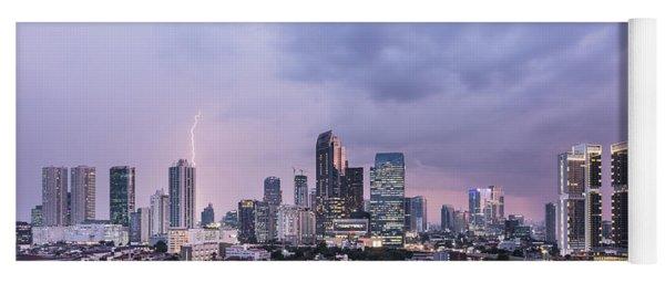 Stunning Sunset Over Jakarta, Indonesia Capital City Yoga Mat