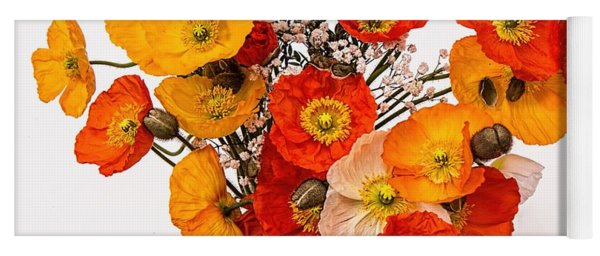 Stunning Vibrant Yellow Orange Poppies  Yoga Mat