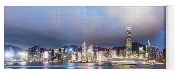 Stunning View Of Hong Kong Island At Night.  Yoga Mat