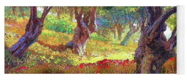 Tranquil Grove Of Poppies And Olive Trees Yoga Mat