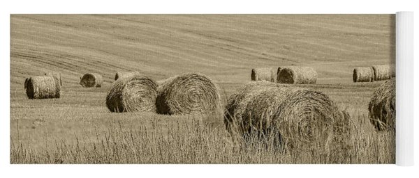Summer Harvest Field With Hay Bales In Sepia Yoga Mat