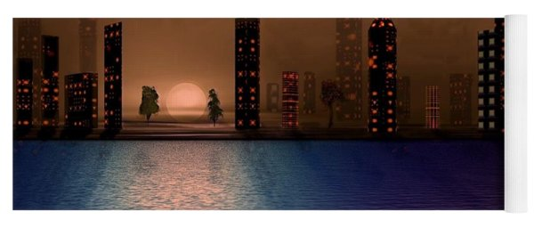 Yoga Mat featuring the digital art Summer In The City by David Dehner
