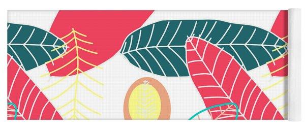 Summer Leaf In Pink  Yoga Mat