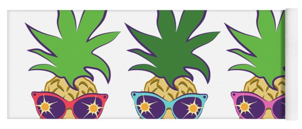 Summer Pineapples Wearing Retro Sunglasses Yoga Mat